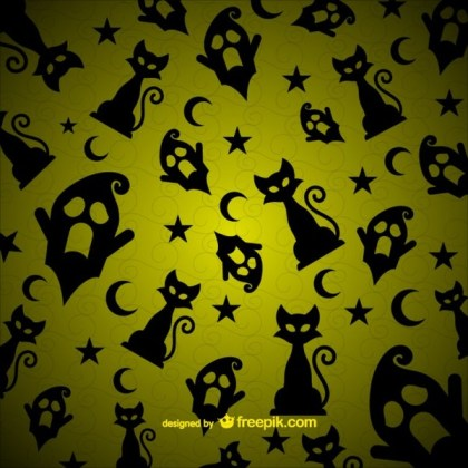 Cats and Ghosts Pattern for Halloween Free Vector
