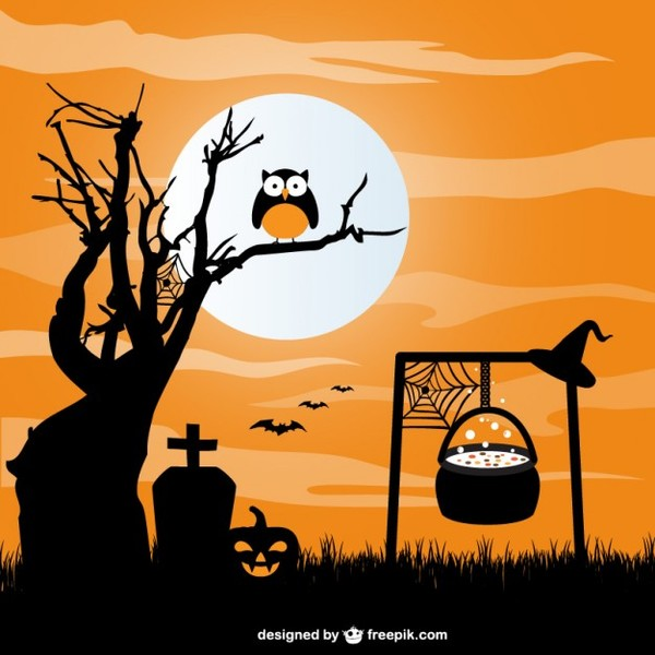 Cauldron in Graveyard Halloween Background Free Vector
