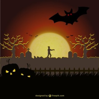 Cemetery Background for Halloween Free Vector