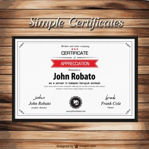 Certificate Template on Wooden Texture Free Vector