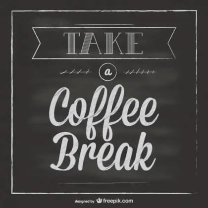 Chalkboard Coffee Break Free Vector