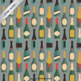 Champagne Bottles Pattern Free Vector