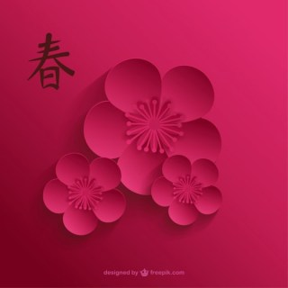 Cherry Blossom in Dark Pink Tones Free Vector