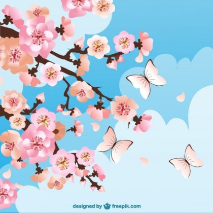 Cherry Blossoms Background with Butterflies Free Vector
