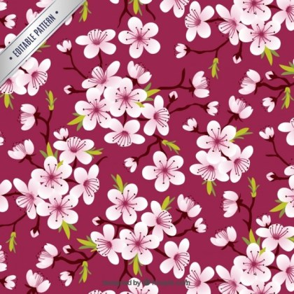Cherry Blossoms Pattern Free Vector