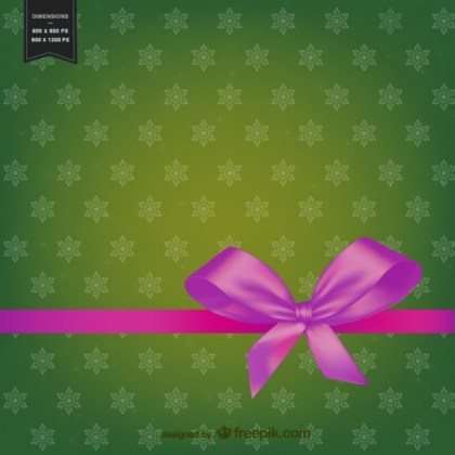 Christmas Background with Pink Ribbon Free Vector