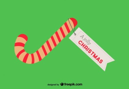 Christmas Card with Candy Cane Free Vector