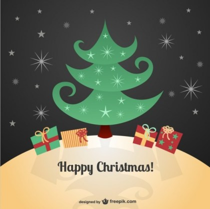 Christmas Card with Cartoons Free Vector