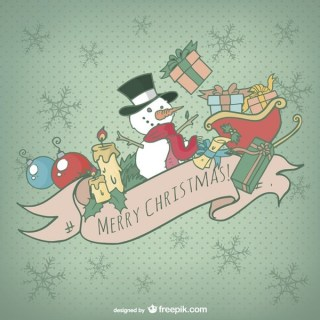 Christmas Card with Colorful Cartoons Free Vector