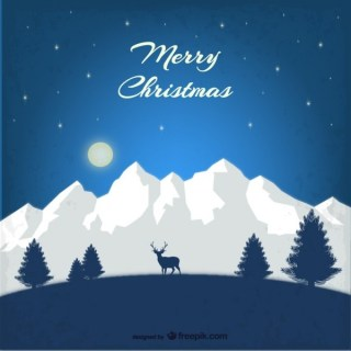 Christmas Card with Mountains Free Vector