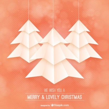 Christmas Card with Origami Style Trees Free Vector