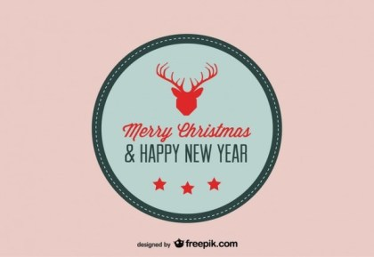 Christmas Card with Reindeer Symbol Free Vector