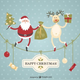 Christmas Card with Santa Claus and Reindeer Free Vector
