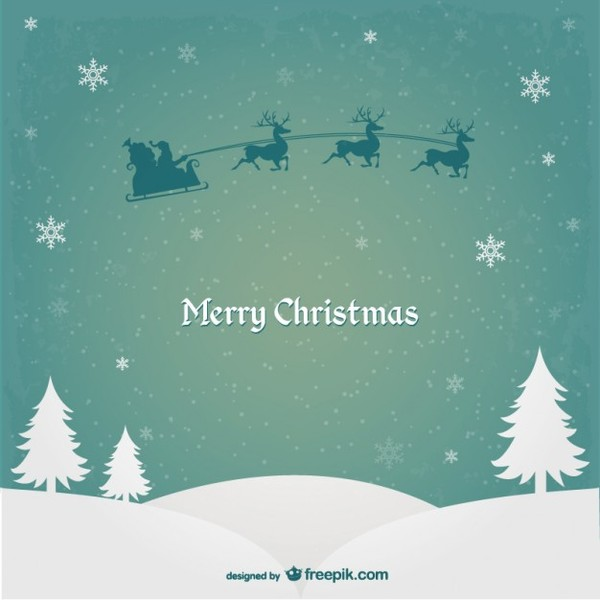 Christmas Card with Santa Claus and Reindeers Free Vector