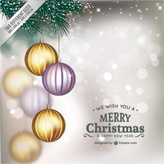 Christmas Card with Shiny Baubles Free Vector