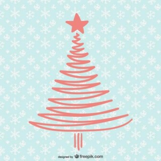 Christmas Card with Simple Tree Free Vector
