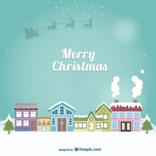 Christmas Card with Urban Landscape Free Vector