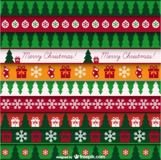 Christmas Card with Vintage Pattern Free Vector