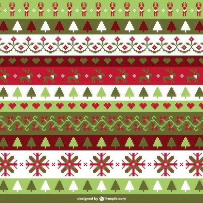 Christmas Cross Stitch Background Free Vector