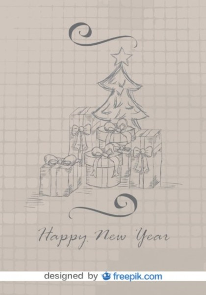 Christmas Doodle Card with Tree and Gifts Free Vector