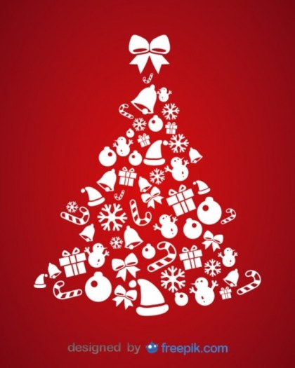 Christmas Icons Tree Card Illustration Free Vector
