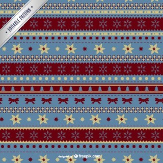 Christmas Pattern with Ornaments Free Vector