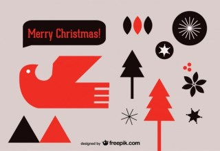 Christmas Postcard with Stylized Elements Free Vector