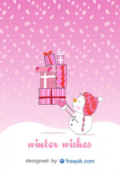Christmas Snowman Card in Happy Pink Background Free Vector