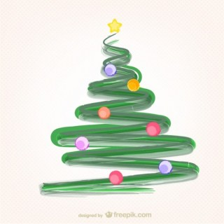Christmas Tree with Paint Strokes Free Vector