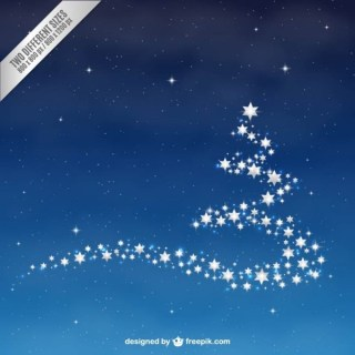 Christmas Tree with Stars Free Vector