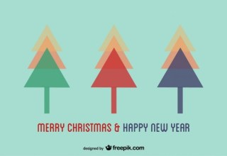 Christmas Trees Postcard Design Free Vector