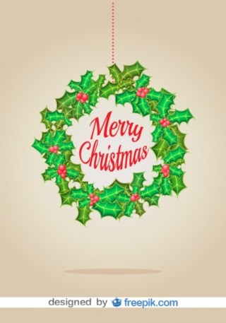 Christmas Wreath Christmas Card Free Vector