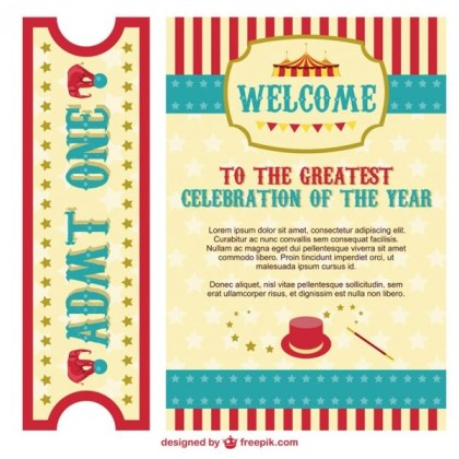 Circus Poster and Ticket Pack Free Vector