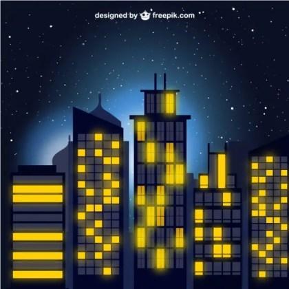City At Night Free Vector