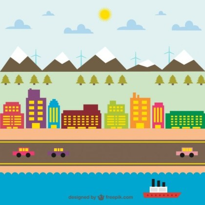 City Life Colorfull Graphic Free Vector