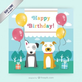 Cmyk Birthday Card with Dogs Free Vector