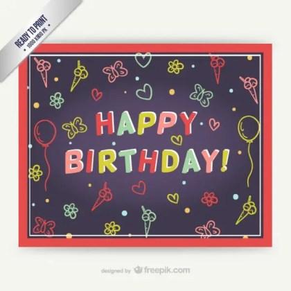 Cmyk Happy Birthday Card Free Vector