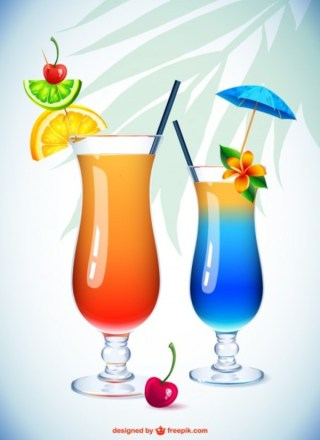 Cocktail Glasses Illustration Free Vector