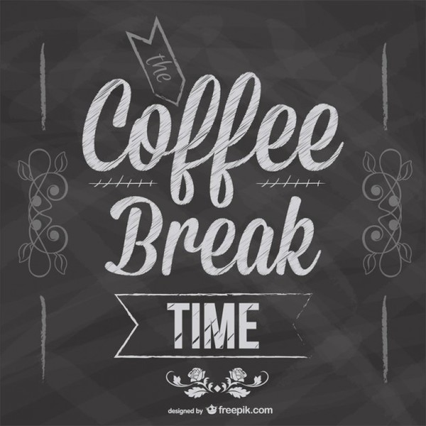 Coffee Break Blackboard Design Free Vector