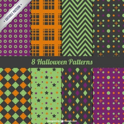 Collection of Decorative Halloween Pattern Free Vector