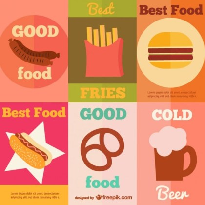 Collection of Fast Food Vintage Posters Free Vector