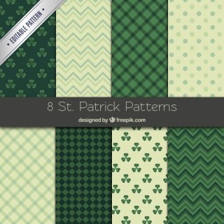 Collection of St Patrick Patterns Free Vector