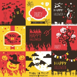 Colorful Backgrounds Pack for Halloween Free Vector