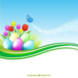 Colorful Banner with Easter Eggs Free Vector