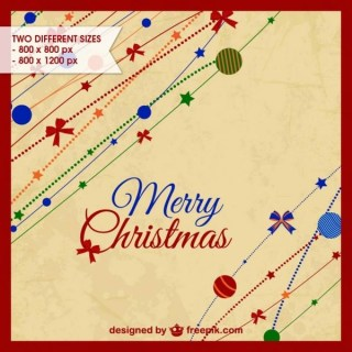 Colorful Christmas Retro Background Free Vector