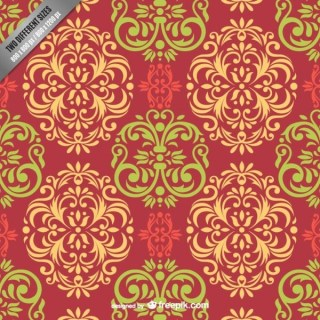Colorful Damask Pattern Free Vector