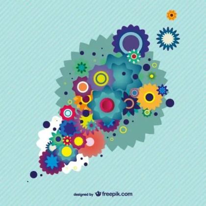 Colorful Floral Design Background Illustrator Free Vector