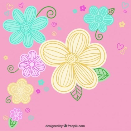 Colorful Flowers Over Pink Background Free Vector