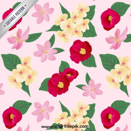 Colorful Flowers Pattern Free Vector