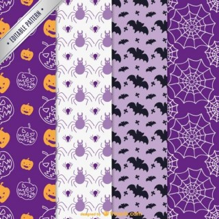 Colorful Patterns for Halloween Free Vector